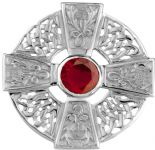 Scottish Thistle Silver Cross Brooch with Ruby colour stone 0686